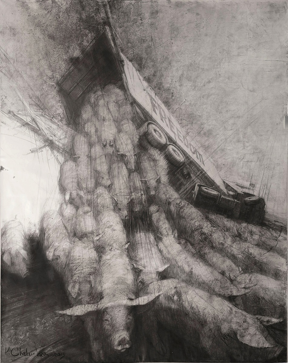 Kirill Chelushkin / FREEDOM. 2015 / Graphite on canvas / 190 x 160 cm