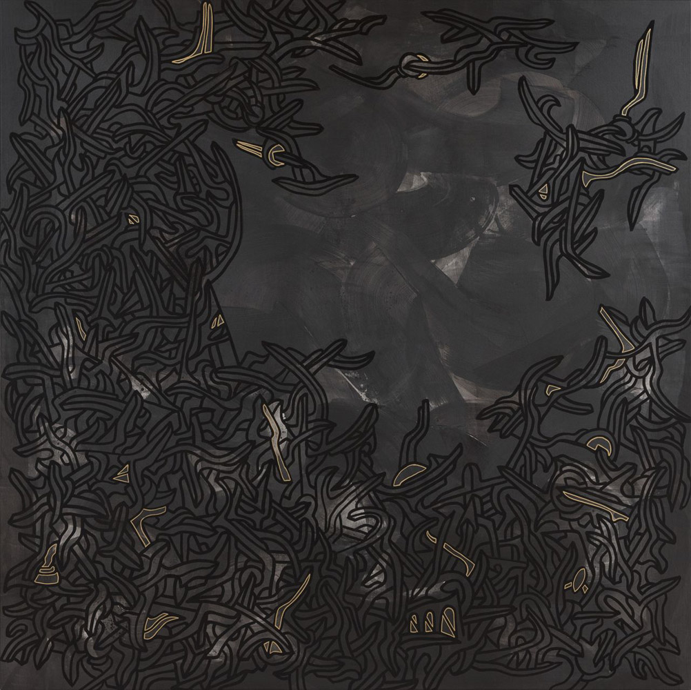 Untitled 4. 2014 / From the series 'Black Gold' / Acrylic paint and gold ink on canvas / 190 x 190 cm