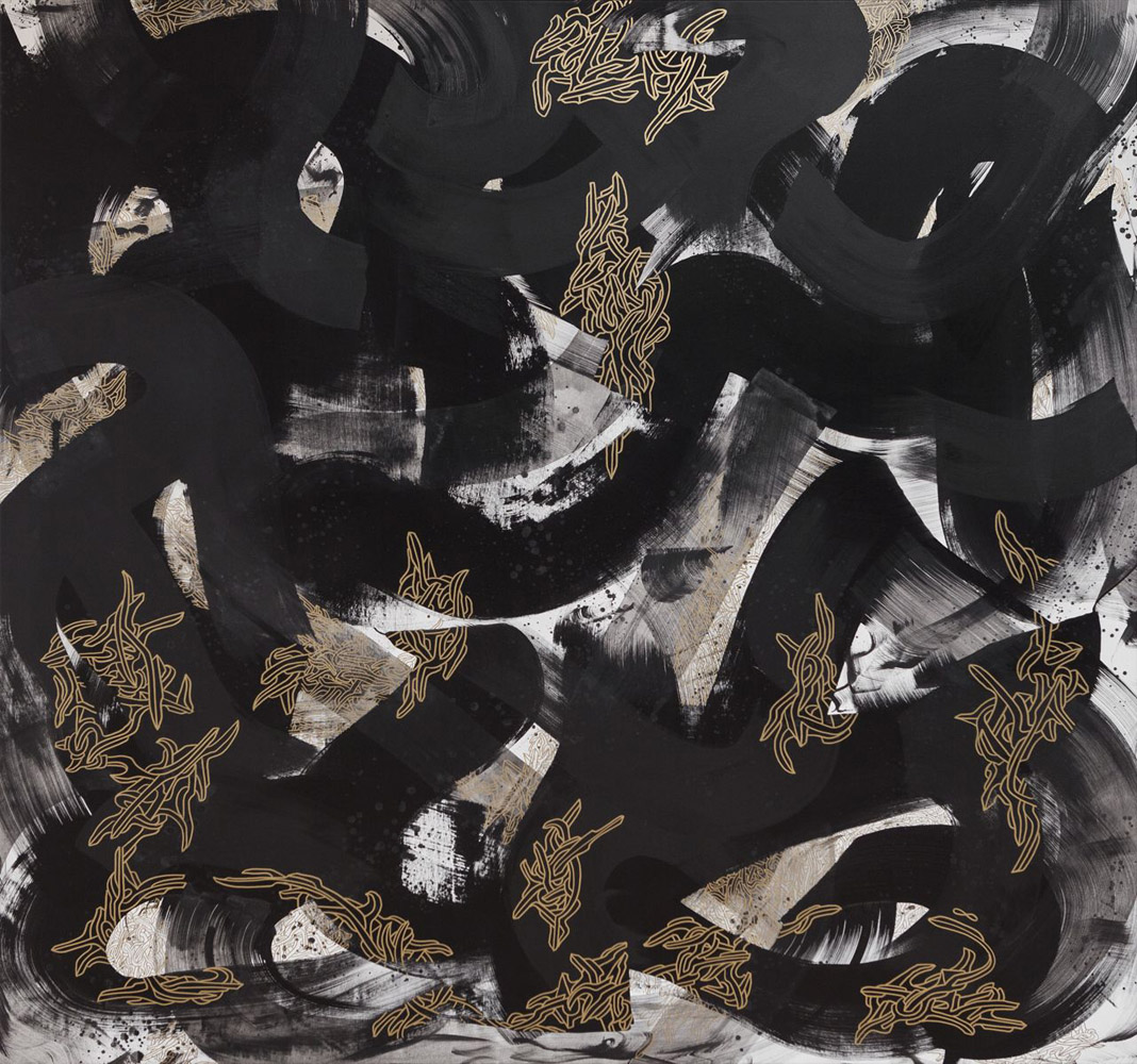 Untitled 6. 2014 / From the series 'Black Gold' / Acrylic paint and gold ink on canvas / 190 x 190 cm
