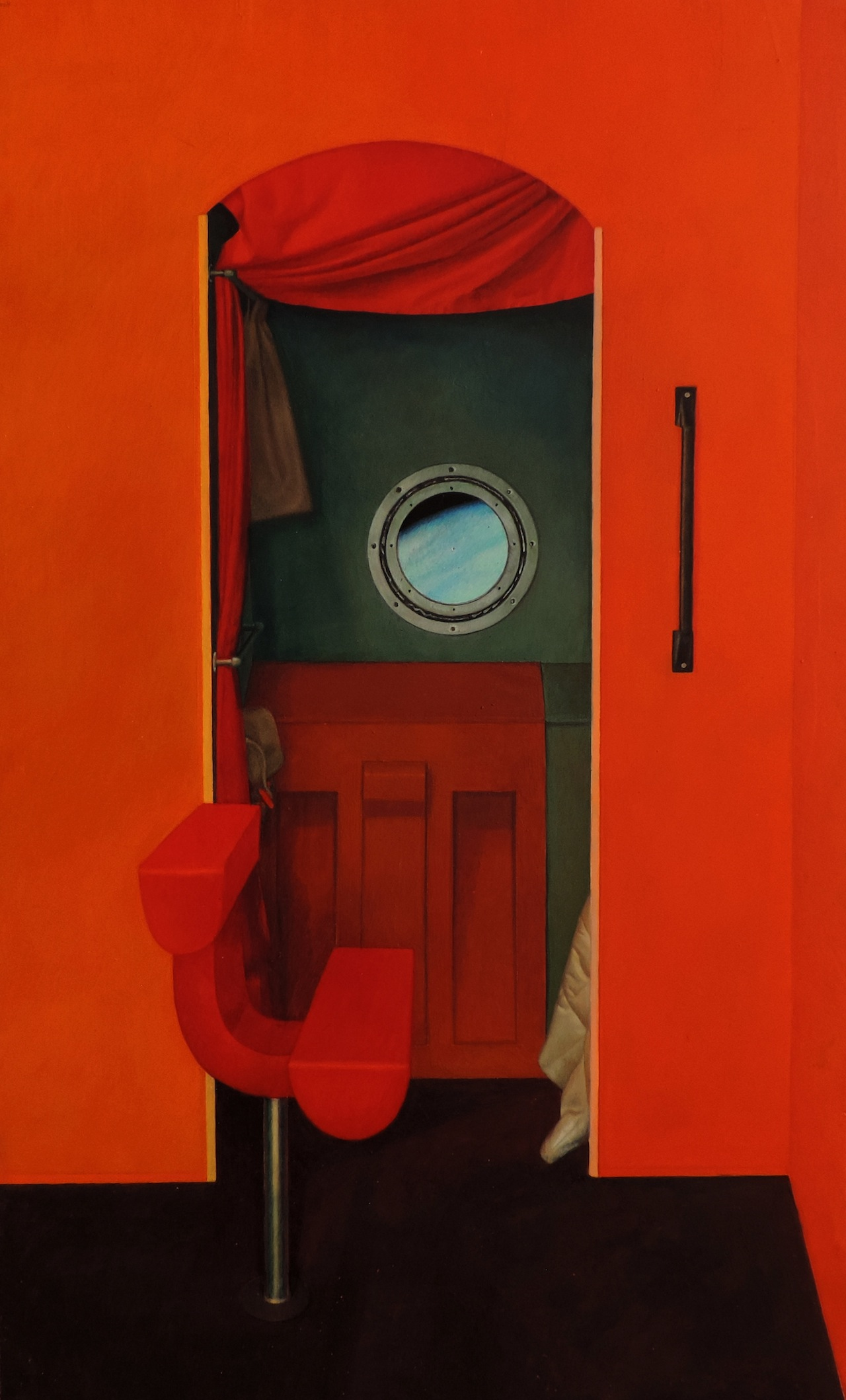 TAISIA KOROTKOVA / MIR STATION. SLEEPING ROOM. 2015 / TEMPERA ON GESSO ON WOODEN PANEL / 30  x 50 CM