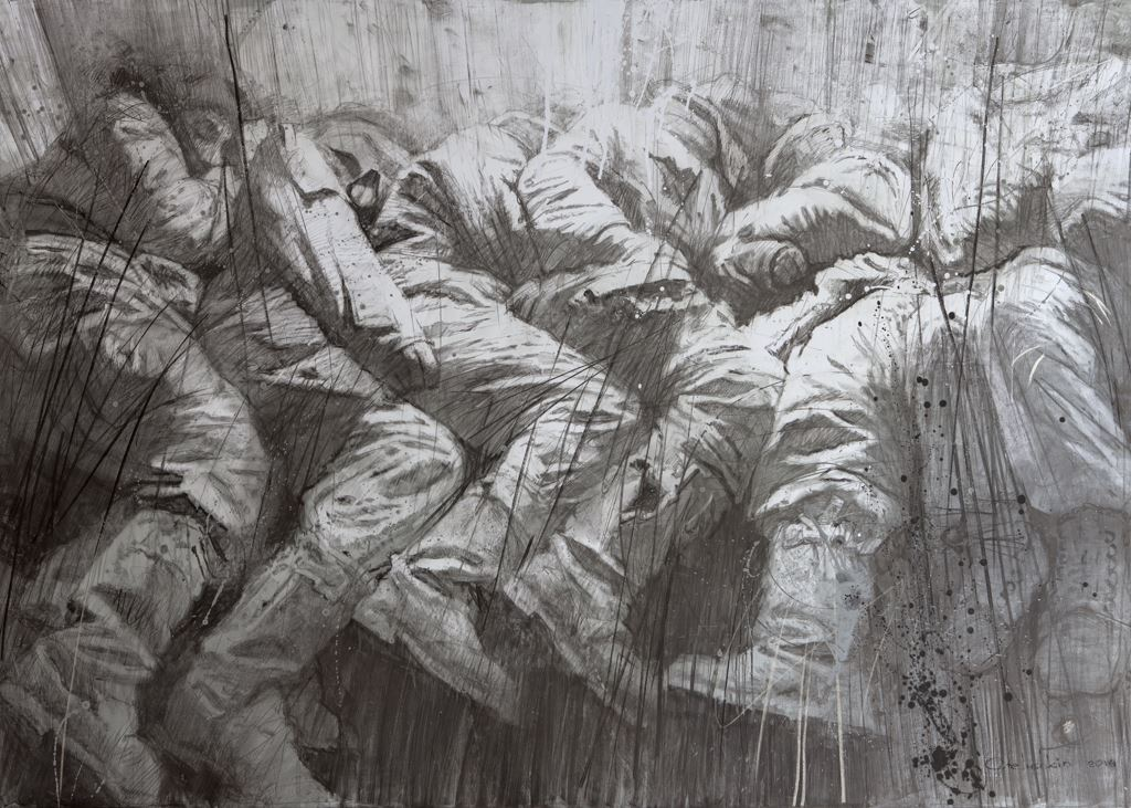 ASLEEP. 2014 / Graphite on canvas / 165 x 230 cm