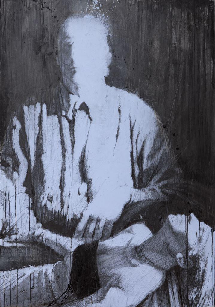 BONHEUR. 2014 / Graphite on canvas / 185 x 130 cm