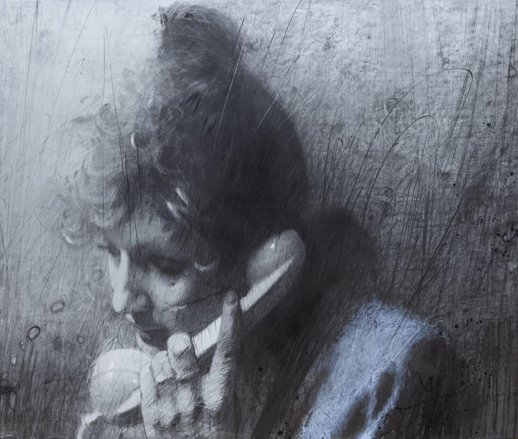 PHONE CALL. 2014 / Graphite on canvas / 160 x 195 cm