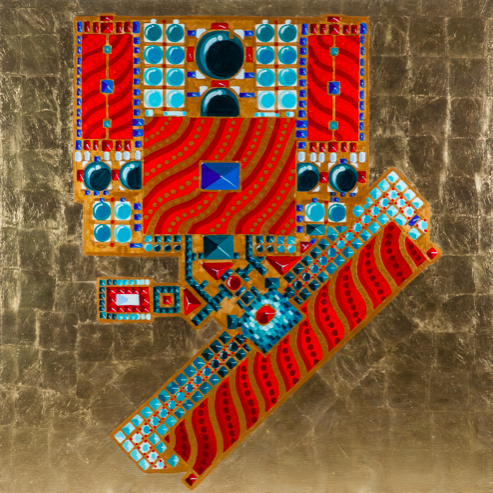 Shah's Mosque in Isfakhane - 2 2014 Canvas, gold patal, oil, lacquer  200 x 220 cm