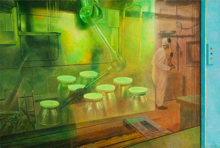 Nuclear Reprocessing, 2014, 50 x 74 cm, Tempera on gesso on wooden panel