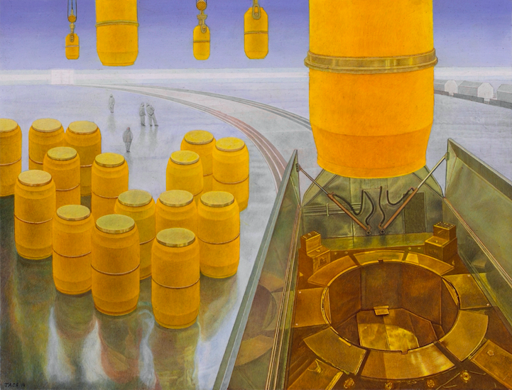 Transport of Radioactive Waste, 2014, 50 x 65 cm, Tempera on gesso on wooden panel