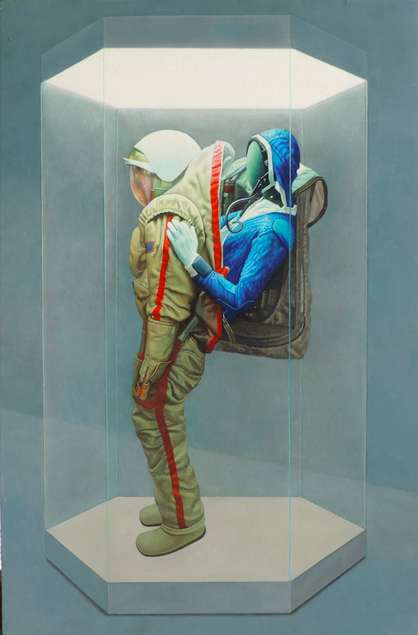 Space suit 2, 2018, 45 x 30 cm, tempera on gesso on wooden panel